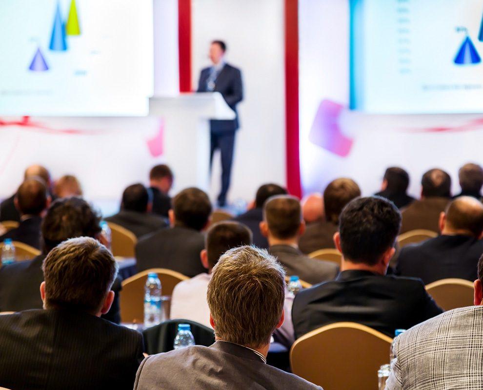 man making speech at presentation