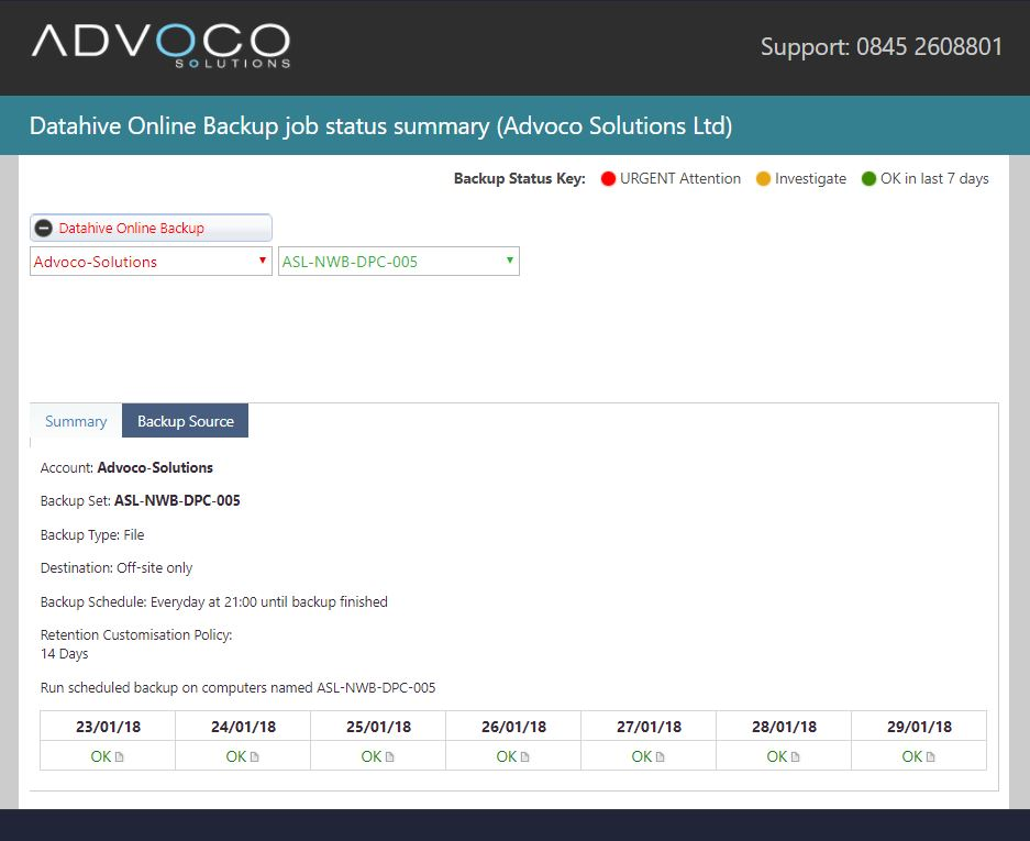 Screenshot of Advoco support page