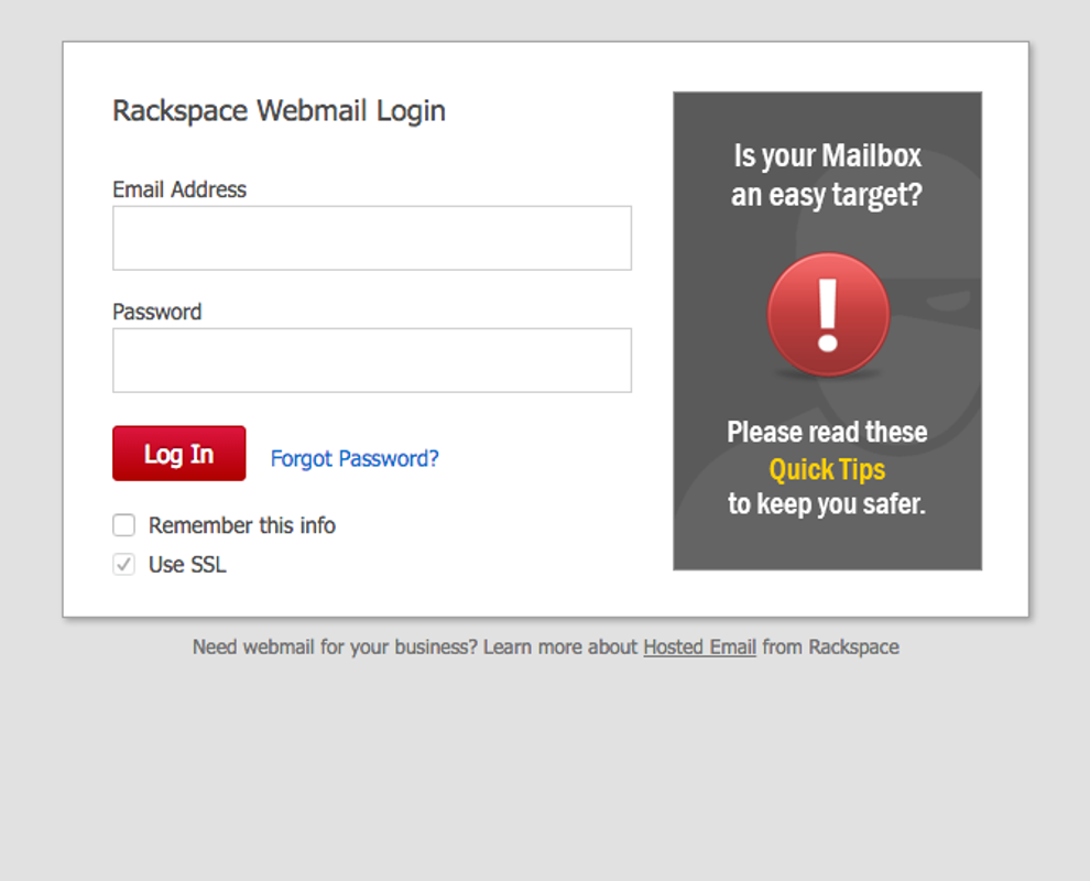 Screenshot of Rackspage webmail login page