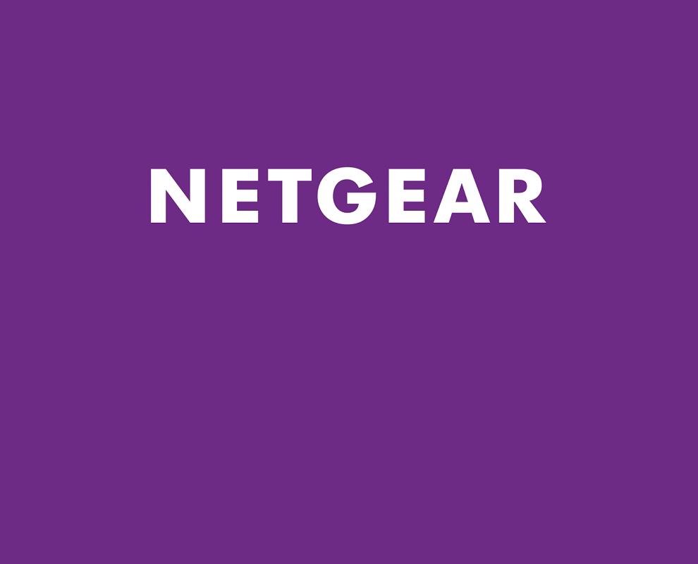 Netgear logo on purple background